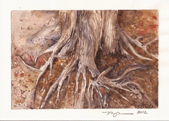 """Roots of A Wizened Oak, a 5""""x7"""" print of a watercolor, printed on 8""""x10"""" paper"""