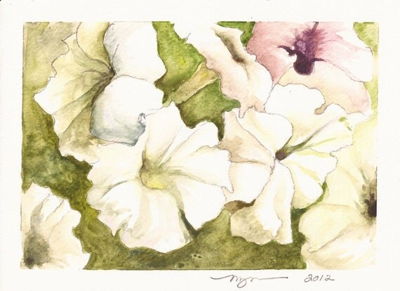 "Lots of Petunias, a 5""x7"" print of a watercolor, printed on 8""x10"" paper"