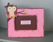 Owl picture frame in pink