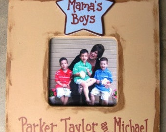 3x3 Mama's Boys hand painted and personalized picture frame