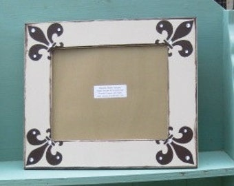 8x10 hand painted frame in khaki with chocolate brown fleur d' lis