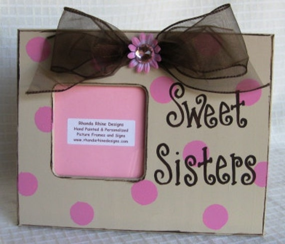 sweet sisters frame in khaki with pink dots and brown jeweled bow