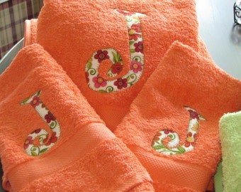 Personalized Mango Orange Towel Set with custom monogram
