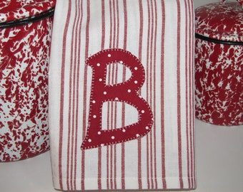 Adorable Red and White  Kitchen Towel with Personalized Monogram