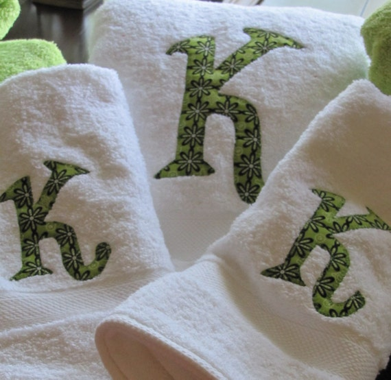Custom Monogrammed  White Towel Set with Green and Black Fabric Letter