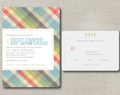 a bit preppy   .   printable plaid wedding invitation suite