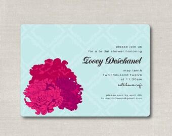 pretty little peony  .  printable bridal shower or wedding invitation