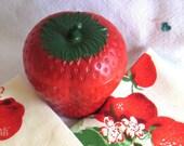 Vintage Strawberry  Bright Red Jelly Jar, Sugar Bowl, GlassBake, Pyrex, Lid, 1940s, RetroBabs on Etsy