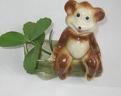 Vintage Bear on a Log, Planter, Brush Painted Pottery, possibly Mc Coy, marked USA Pottery, RetroBabs on Etsy