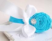 Turquoise Elastic Hadband with Blue Flowers White Bow and Rhinestone