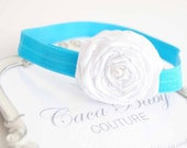 Simply Turquoise Elastic Hadband with White Flowers