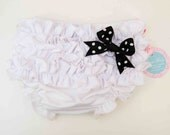 White Bloomers With Cute Ruffle and Black Dots Bow