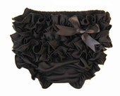 Baby Bloomers  Baby Bloomers Black With Cute Ruffle and Black Satin Bow