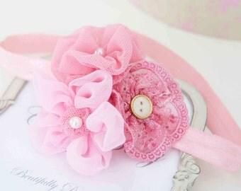 Trio Vintage Pink  Flowers