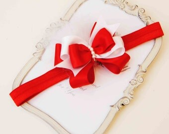 Red and White Bow with Red  Elastic Hadband