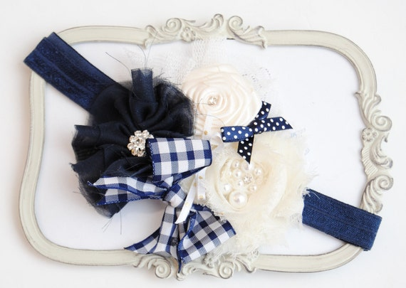 Beautiful Riviera Navy Ivory Silk Flowers with Navy Headband and Rhinestones and Pearls