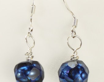 Blue Faceted Pearls and Sterling Silver French Earwires -  Earrings - Blue Pearl Collection