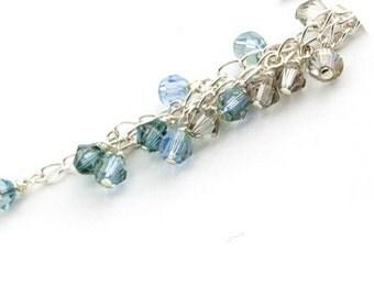 Swarovski Crystal Earrings Blue Crystal and Silver