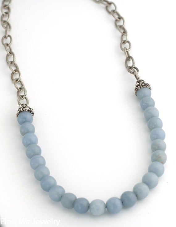 Angelite and Sterling Silver Necklace