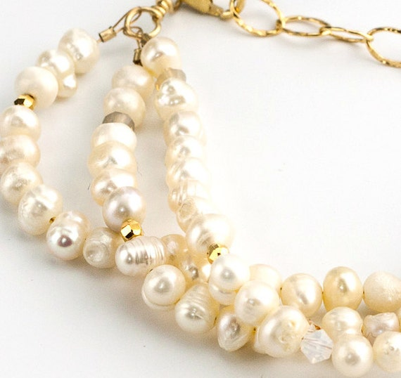 Pearl Bracelet Cream and Gold Multi-Strand Bracelet