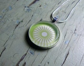 Green with White Flower Glass Tile Necklace