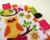 Bright Eyed Owls baby sensory blanket or tag ribbon blanket