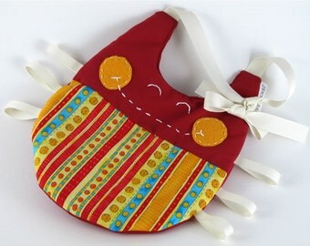 Red and Yellow Striped Bug baby bib