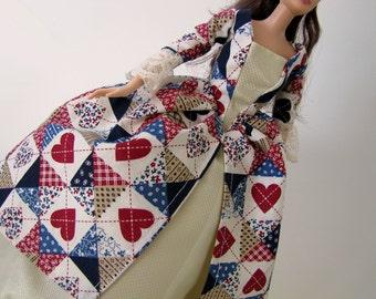 Historic Colonial Barbie dress: Ivory with Americana Hearts