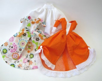 Barbie dress set: White Polka Dot with Bright Florals on White and Orange Calico