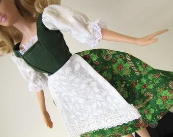 Barbie Peasant dress: Christmas Green with Candy Canes