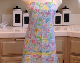Full Apron with Flirty Skirt: Sky full of Colorful Butterflies