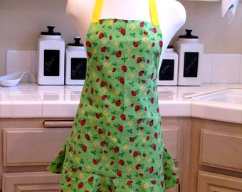 Ruffled Apron: Lucky Lady Bugs in Clovers