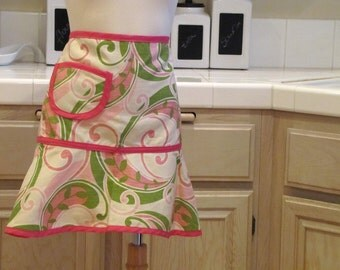 Heirloom Half Apron with Pocket: Pink Modern Scroll with Pink trim