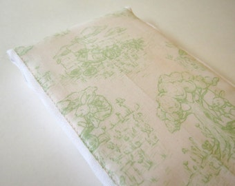Mint Green Bunny Toile baby burp rags or burp cloths