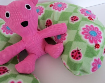 Pink Lady Bugs on Green Argyle baby Boppy cover or nursing pillow cover