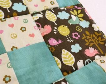 Tweet Tweet Love & Peace baby patchwork quilt