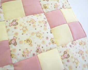 Butter Cream and Pink Nursery Animals baby girl patchwork quilt