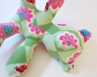 Pink Lady Bugs on Green Argyle baby teddy bear
