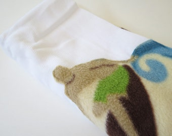 Surfer and Waves fleece baby burp rags or burp cloths