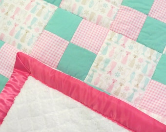 Pink and Teal Kitty Cats baby girl patchwork quilt
