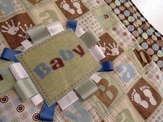 Oh Boy baby quilt in modern brown, green and blue