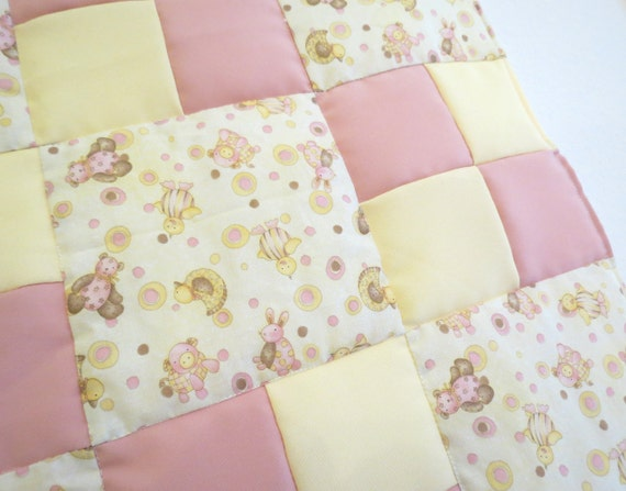 Butter Cream And Pink Nursery Animals Baby Girl Patchwork