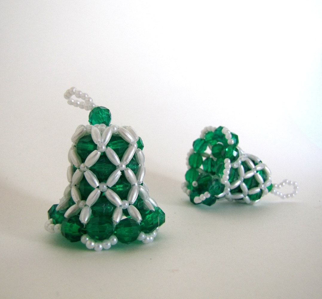 items similar to bell beaded ornament green