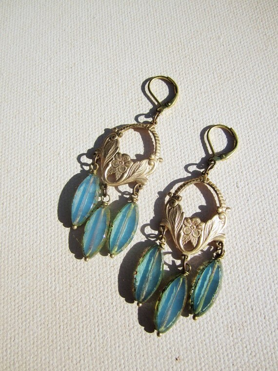 Allegory of Spring Earrings in Blue Opal - Art Nouveau style chandelier earrings, Czech Glass, decorative raw brass stampings. Bridesmaid.