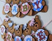 Teddy Bear Baby Shower Banner Party Decorations - Custom Words (10 letters)