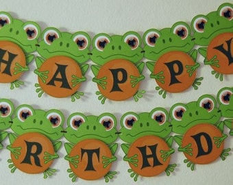 Frog Birthday Party Banner - CUSTOM Message (20 letters)