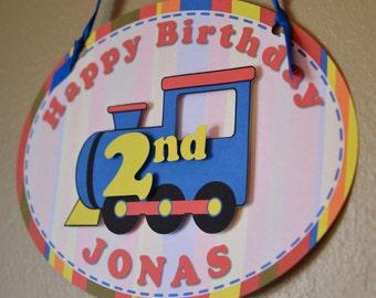 Train Birthday Party Decorations - DOOR SIGN   - Custom Message