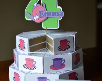 Alice In Wonderland Decorations - Tea Party Bridal Shower, Tea Party Baby Shower, Birthday Party - Favors Box CAKE, 3-D Cake Topper -24boxes