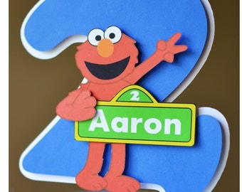 Elmo Birthday Cake Topper, Sesame Street Birthday Party Decoration 3-D - CUSTOM Name/Age