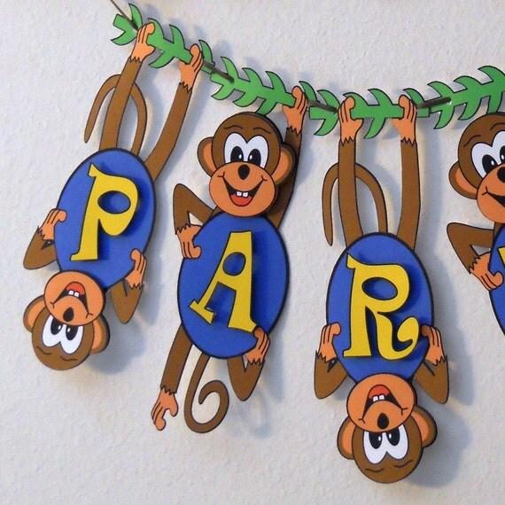 Monkey Birthday Party Decoration 2-D Banner Custom
